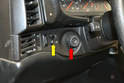 To replace the switches you will need to just remove the headlight switch from the trim piece, as you will need to remove the trim piece to get access to the fog and dimmer switches (yellow arrow).