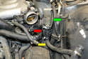 You will need to remove the turbo water pump (red arrow) to get access to where the cross over pipe joins the turbo.