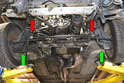 Remove the front control sway arm from the chassis and the control arms (green arrows).