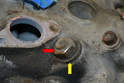 There are ten large 19mm nuts (red arrow) and thick washers (yellow arrow) holding the head on.