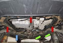 Jacking front of vehicle: When jacking the front of your vehicle, you can jack on the square subframe support (reinforcement) as shown previously, indicated here by a blue arrow.