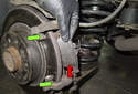 Remove the brake pads (red arrow) from the brake caliper bracket.
