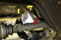 From underneath the car remove the heat insulation from the turbo charger outlet pipe (red arrow).