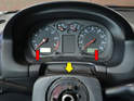 Pull the center trim piece (red arrows) straight back from the cluster (yellow arrow).