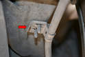 Cable Replacement - The twin screw clip (red arrow) can be reused if you carefully pry the clips away from the screw threads with a small screwdriver and then crimp down again to reuse.