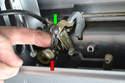 Before you replace any parts make sure that the plastic piece that connects the lock mechanism (red arrow) with the latch pull (green arrow) has not just fallen off.