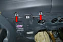 Dimmer Switch: Remove the two T20 Torx screws under the dash (red arrows).