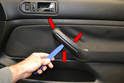 Passenger Door Handle - The only difference between the drivers side door and the passenger side removal is the inside door handle or pull.