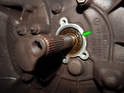 Be sure to inspect the area where the guide tube/shaft seal mates to the transmission around the input shaft (green arrow).