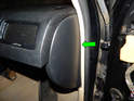 Left A Pillar Panel: Pull the left side panel (green arrow) off the end of the dashboard.