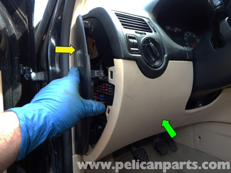 volkswagen jetta mk4 lower dashboard panel removal jetta mk4 2 0 pull out the side panel covering the fuse box yellow arrow and then carefully