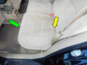 Begin by lifting up both rear seat cushions from the front (green arrow) and then folding them up from the back (yellow arrow).