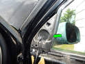 Pull the foam cover (green arrow) off the A-pillar.