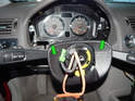 Shown here is the steering column on the Volvo C30 with the steering wheel removed.