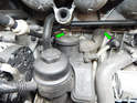 Shown here are the locations of the two knock sensors on the Volvo C30 (green arrows).