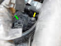 Shown here is the crankshaft position sensor located on the very top of the transmission, right at the parting line of the engine.