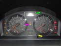 Shown here is the instrument cluster on the Volvo C30.