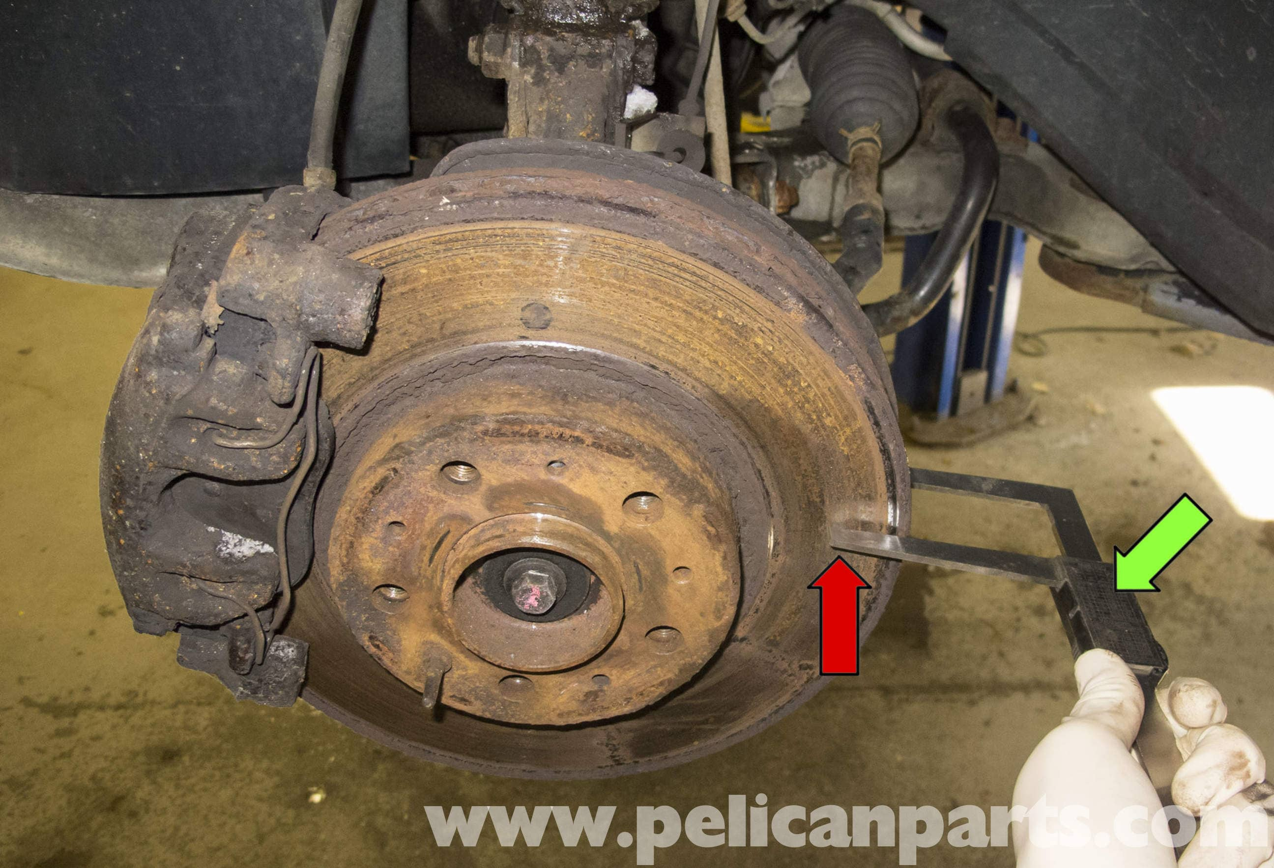 volvo v70 brake rotor specification checking 1998 2007 pelican parts diy maintenance article. Black Bedroom Furniture Sets. Home Design Ideas