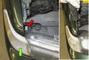 Side marker: Press the plastic retaining tab (red arrow) with a large flathead screwdriver while pulling the lens out of the fender (green arrow).