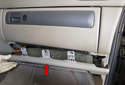 Glove box: Pull the kick panel (red arrow) down and slide it out just enough to access the footwell light.