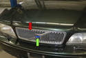 The front radiator or hood grille (red arrow) on a Volvo have been a signature feature for what seems like forever.