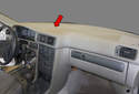 In this tech article we will go over the steps to remove your upper dashboard panel (red arrow).