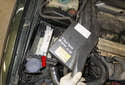 Engine control module (ECM): The engine control module (red arrow) (ECM) is mounted in the control module box on the right side of the engine compartment.