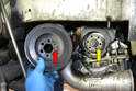 The crank pulley has a locating pin opening (red arrow) that correlates with the crank pin (yellow arrow) so you can only install it in one position.