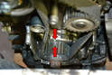 With the timing belt lined up on the head make a few witness marks on the crank sprocket and case (red arrows).