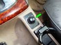 Shown here is the side mirror switch on the C5 Audi A6 (green arrow) over time, this switch can be damaged by liquids.