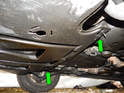 Loosen and remove the two dzus fasteners (green arrows) from the rear edge of the front undertray.