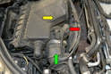 There are three components attached to the MAF: the wiring connection (red arrow), the air box (yellow arrow) and the intake tube (green arrow).