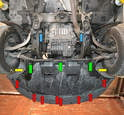 You will need to remove the under body tray (red, yellow and green arrows).