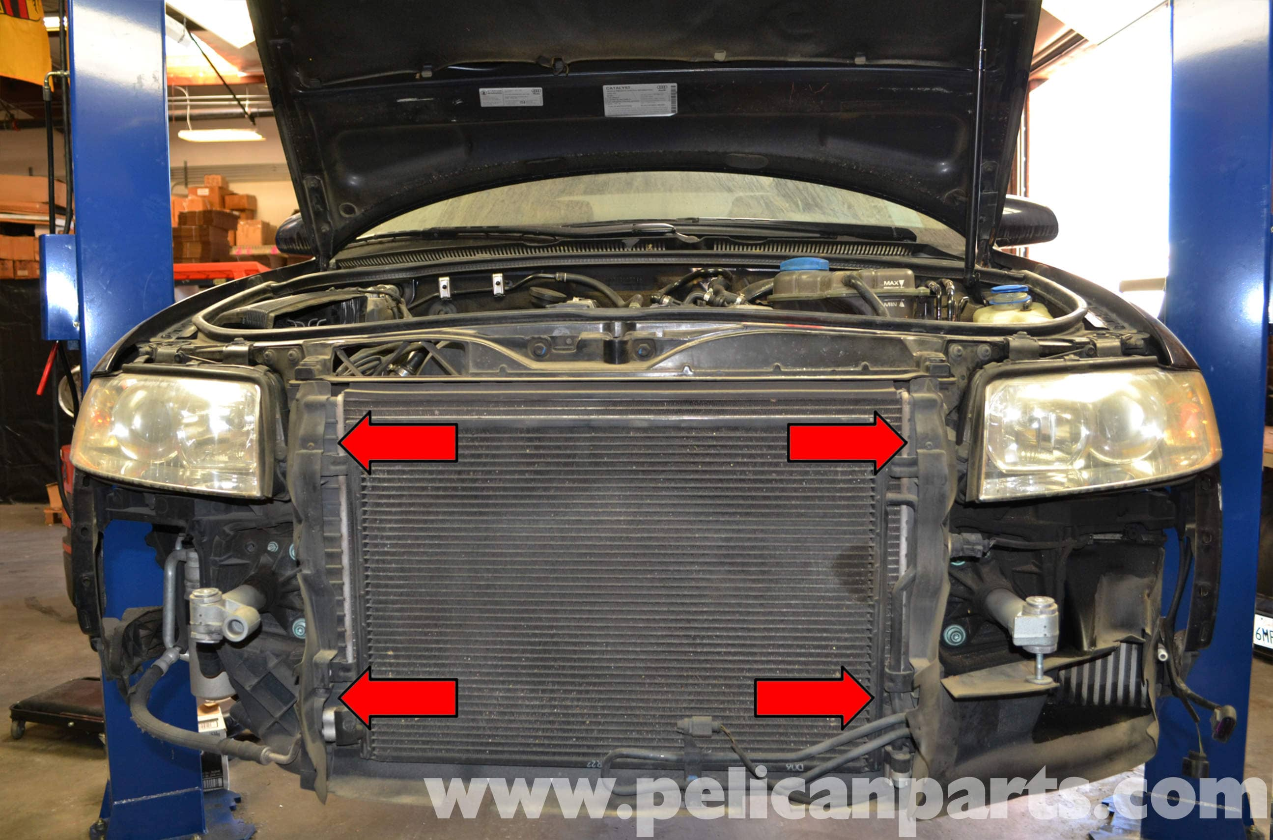 audi a4 b6 radiator replacement 1 8t 2002 2008 pelican parts diy rh pelicanparts com Audi A4 Turbo 2015 Audi A4