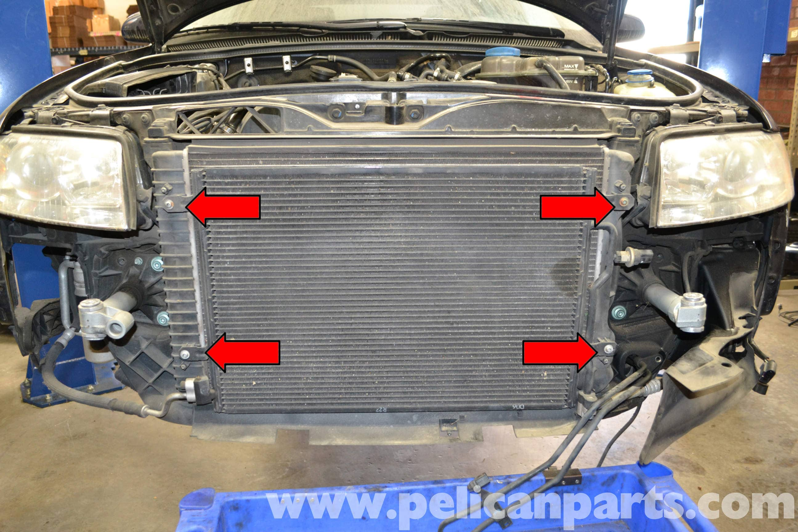 audi a4 b6 radiator replacement 1 8t 2002 2008 pelican parts diy rh pelicanparts com 2002 Audi Car 2002 Audi Avant