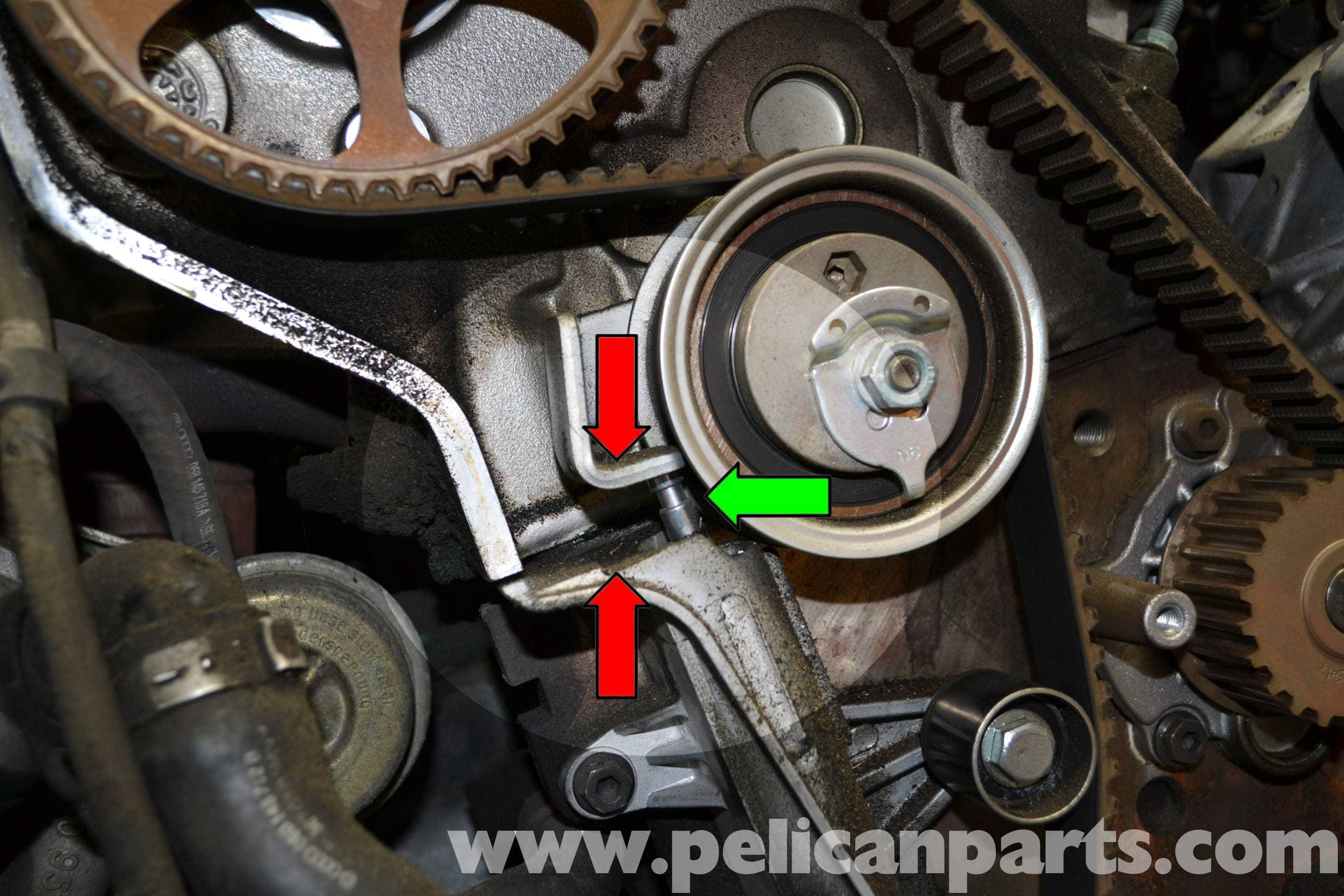 audi a4 b6 timing belt tensioner replacement 1 8t 2002 2008 rh pelicanparts com 03 Audi A4 Specs Audi A4 1.8L Turbo Horsepower