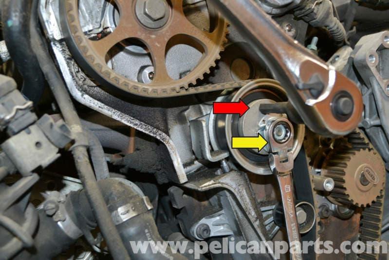 audi a4 b6 timing belt tensioner replacement 1 8t 2002 2008 rh pelicanparts com 2007 Audi A4 Custom Audi A4 Service Manual