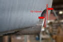 The upper rear section of the tip should be between 10-16mm from the rear valance.