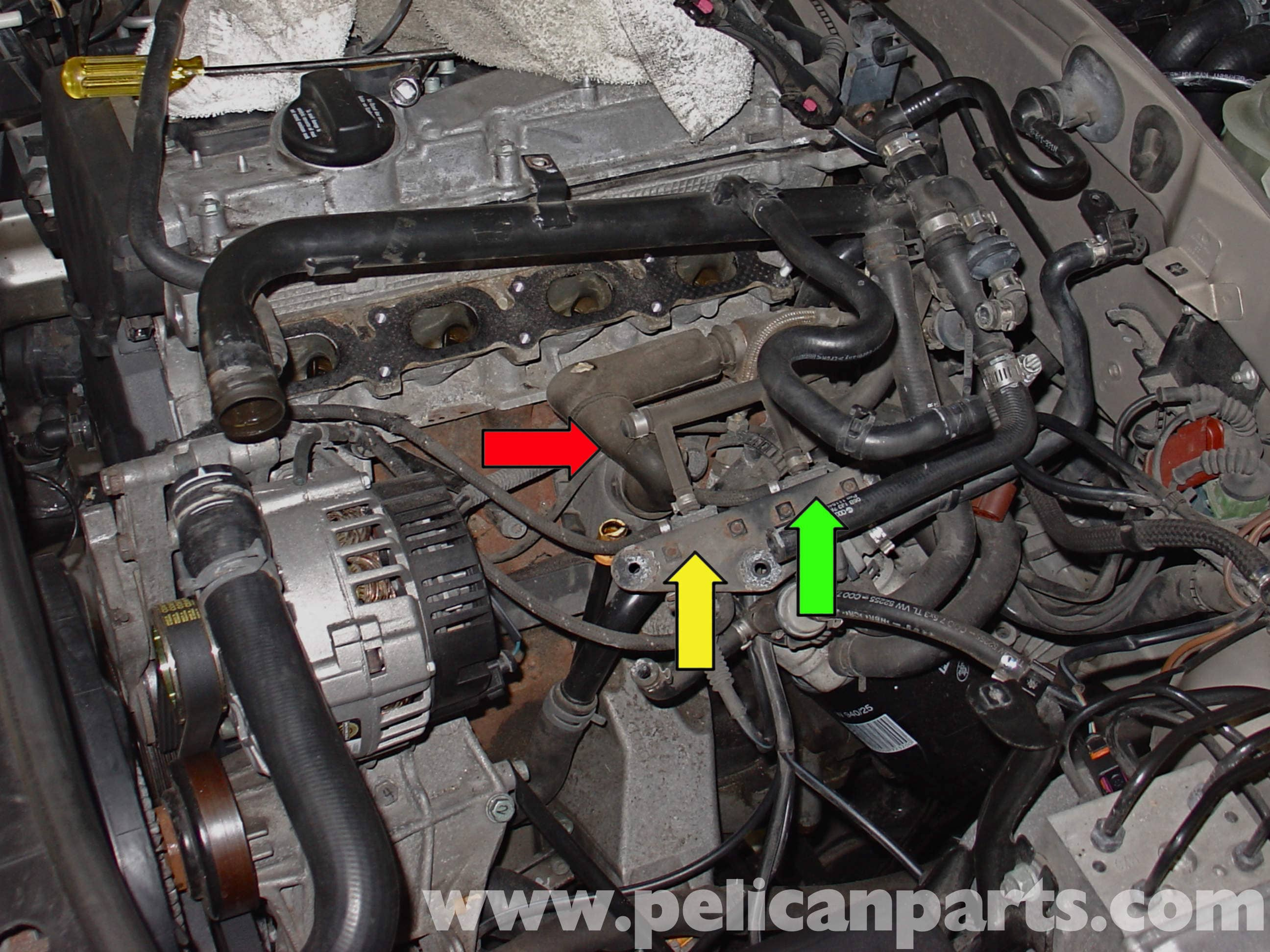 audi a4 b6 fixing common vacuum leaks (2002 2008) pelican parts 1997 Audi A4 Quattro Engine Diagram large image extra large image