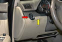 The headlight switch (red arrow) is located on the left side of the steering wheel and if your vehicle is equipped with the ambient illumination deactivation or daytime running light switch it will be located just to the right of it.
