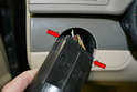 Headlight Switch - Pull the switch far enough from the dash that you can unplug the harness from the back (red arrows).