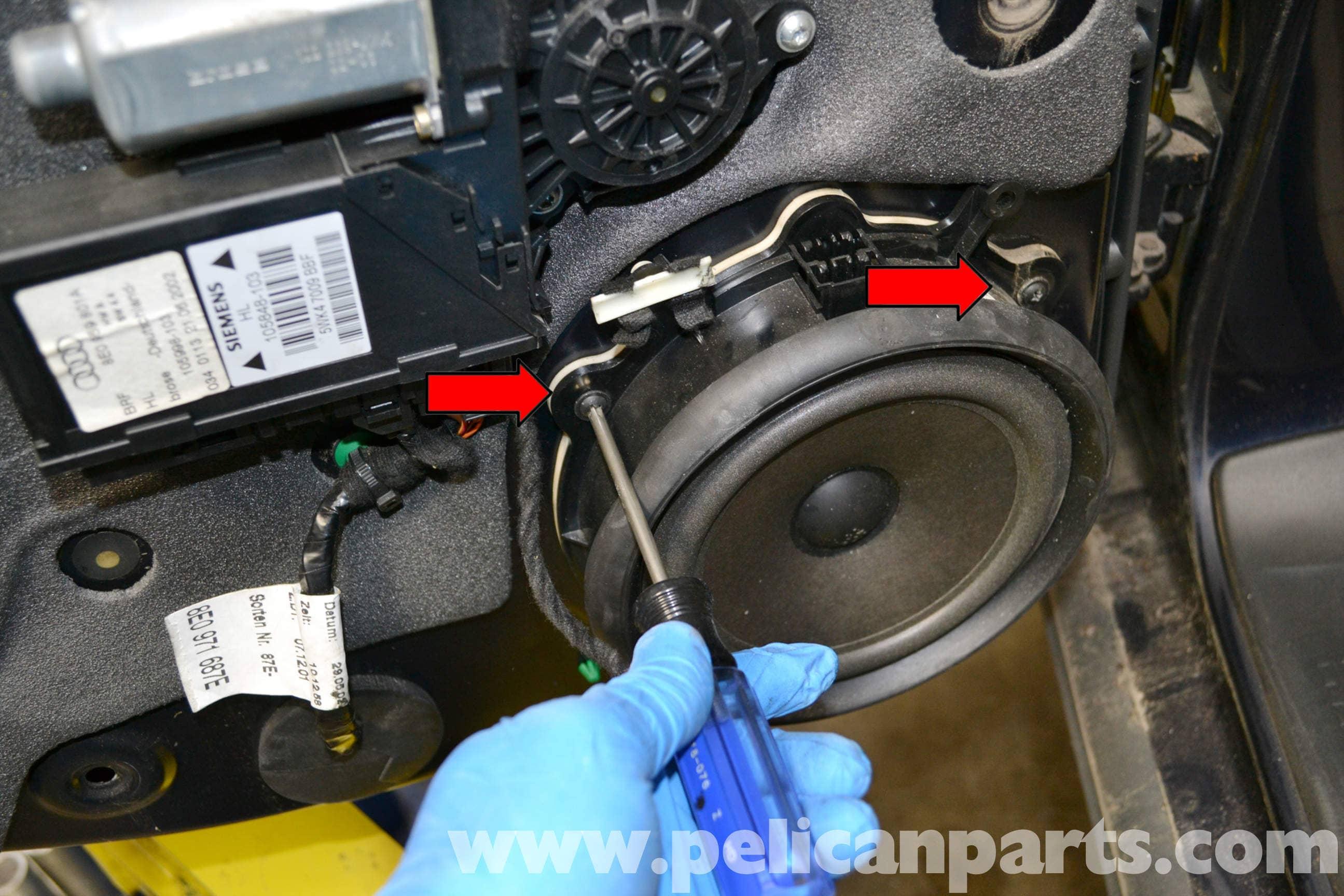 audi a4 b6 rear window regulator replacement 2002 2008 pelican rh pelicanparts com Audi A4 Quattro 2003 Audi A4 1.8T Exhaust