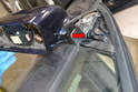 Note the path the wiring takes (red arrow) and make sure to follow it through the foam when installing the new mirror.