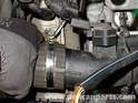 Loosen the hose clamp and remove the top hose from the intercooler.