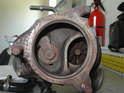 Here's the turbine side of the turbocharger, with the wastegate flapper on the left and the turbine wheel on the right.
