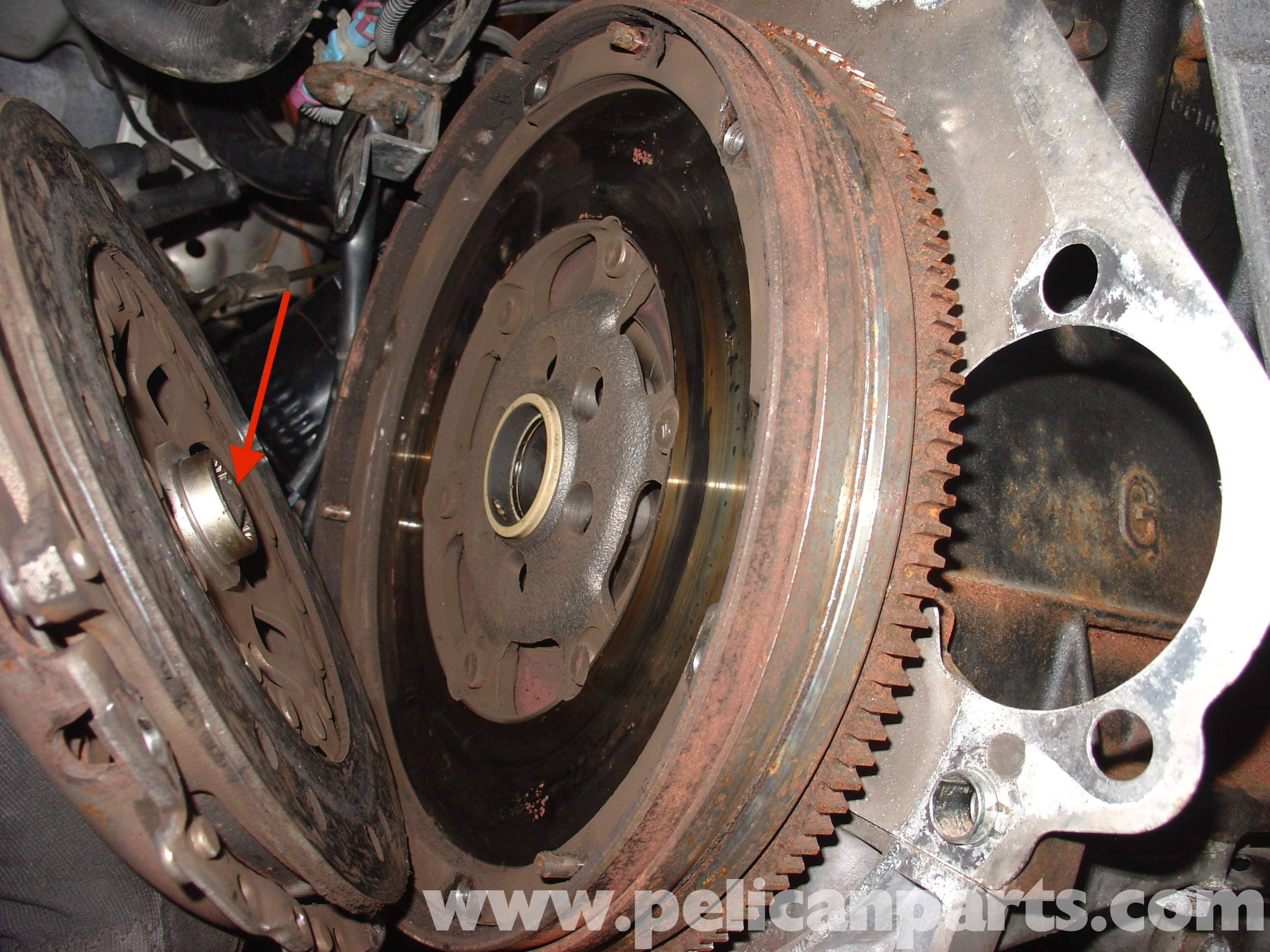 audi a4 quattro b5 clutch and release bearing replacement 1 8t 1997 rh pelicanparts com Audi A4 Quattro Audi A4 1.8L Turbo Horsepower