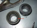 Look at the old clutch release bearing on the left, versus the new one on the right.