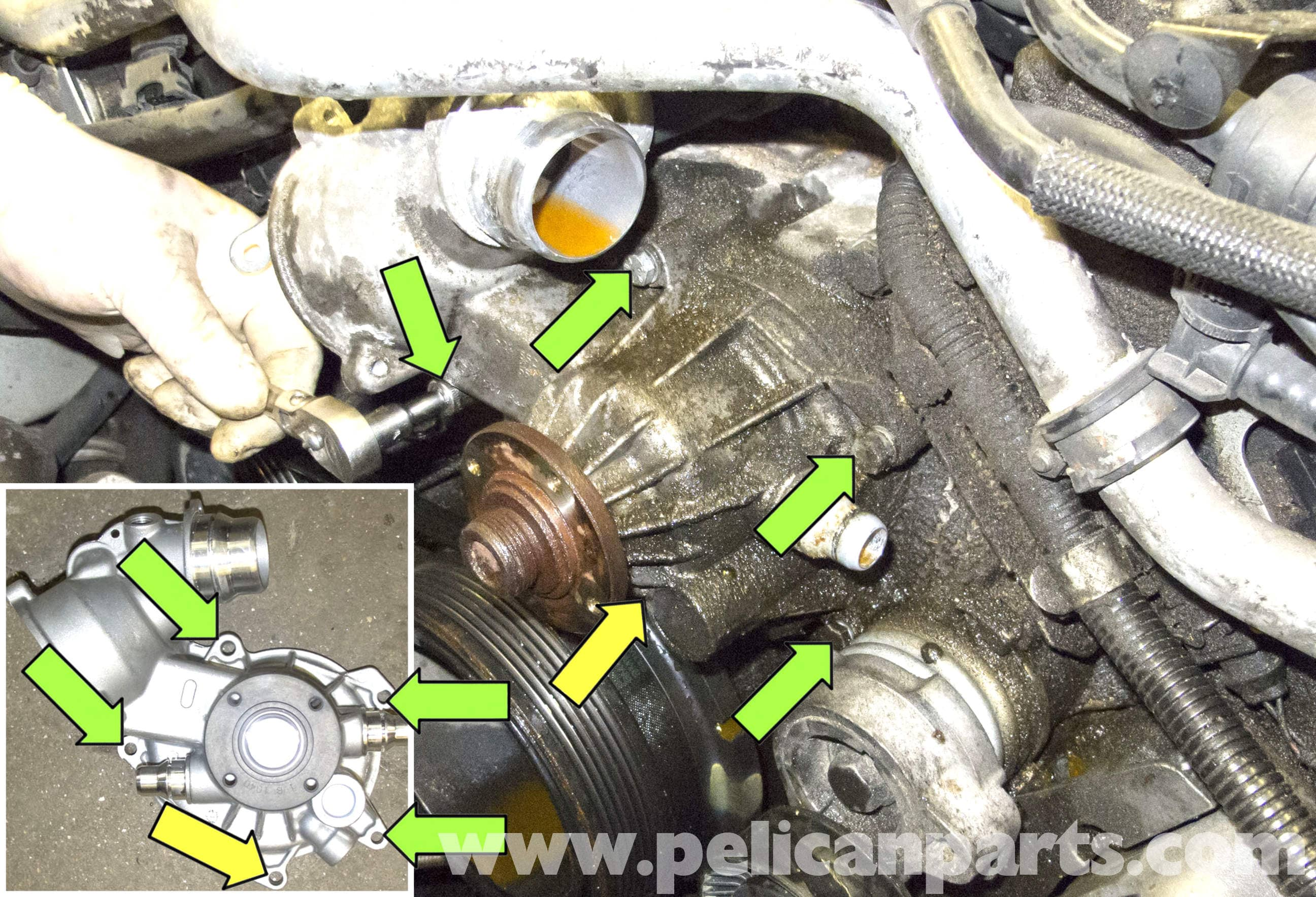 BMW E60 5-Series N62 8-Cylinder Coolant Pump Replacement - Pelican