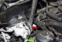 M54 Engine Intake VANOS Solenoid: Then, using a 32mm wrench (red arrow), loosen the VANOS solenoid.