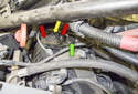 8-cylinder engine: 8-cylinder engine eccentric shaft sensors (yellow arrow) are mounted in the rear of the valve cover, next to the camshaft position sensors (green arrow).